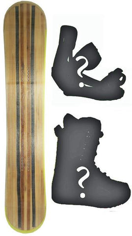 154cm Black Fire Wood Grain W-Rocker Snowboard, Build a Package with Boots and Bindings