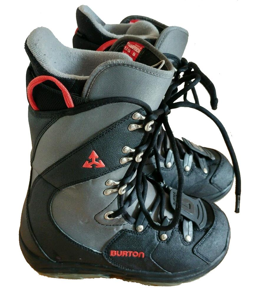 Burton Progression Black Gray Red Mens USED Snowboard Boots 8