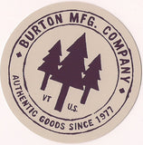 "Burton Snowboard Sticker Freestyle MFG Co. Snowboarding 3""x3"" #2"