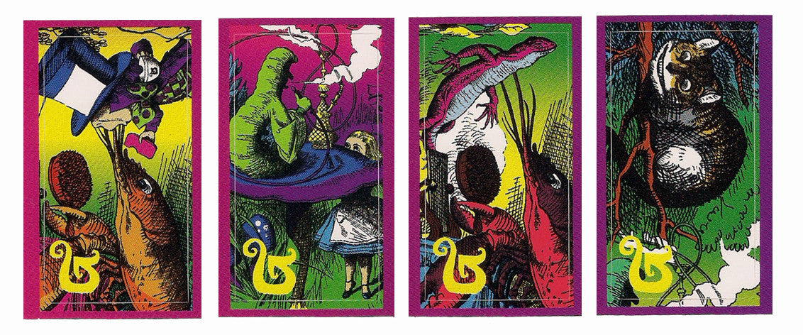 Burton (4 pack) Snowboard Genie Sticker Alice in Wonderland Cat Mad Hatter Lobster #7