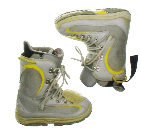 Burton Foundation Women's USED Snowboard Boots Size 6 Beige/Gray/Yellow