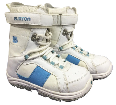 Burton Freestyle Kid's USED Snowboard Boots Size 1 White/Blue