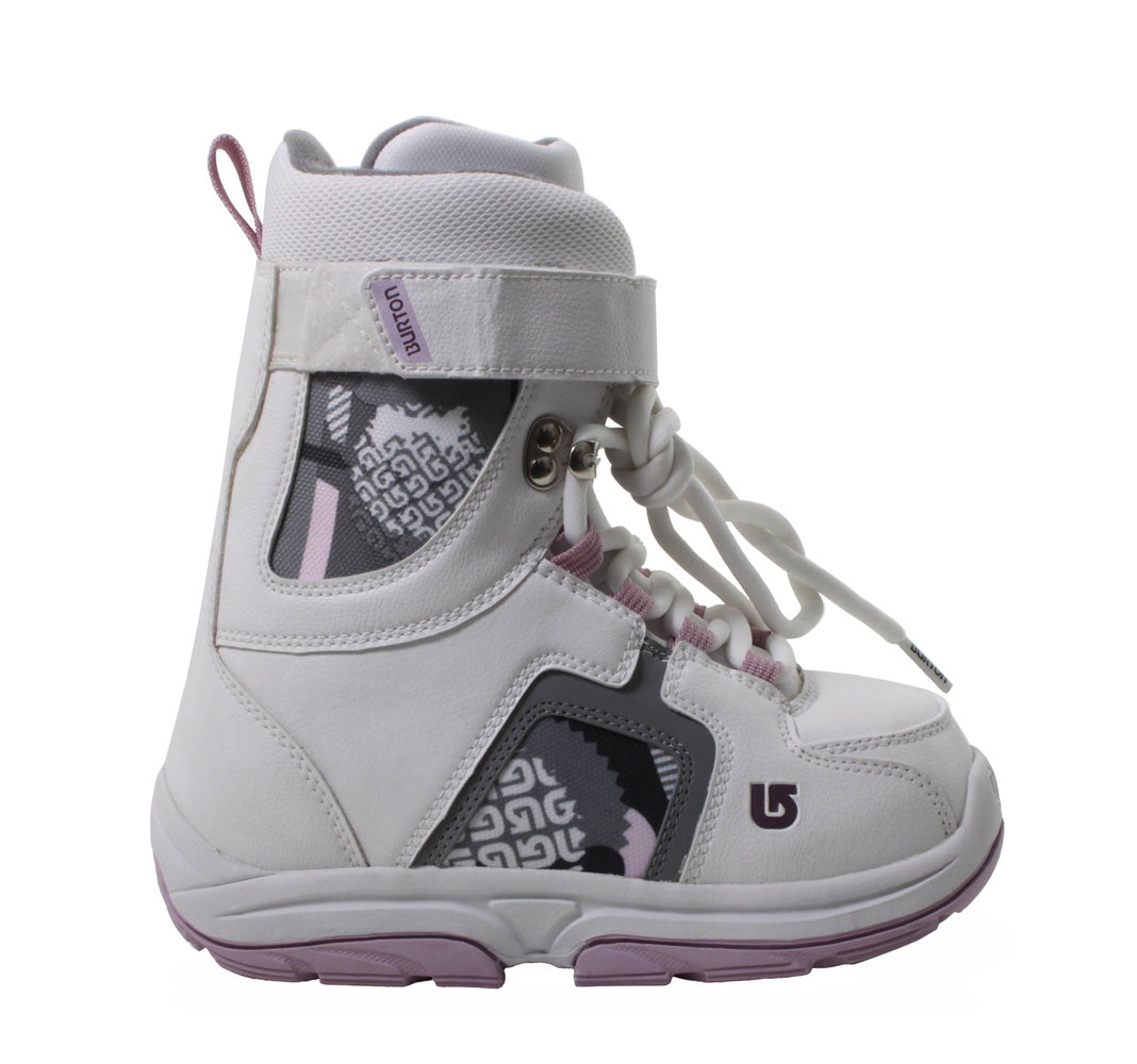 Burton Freestyle Girls USED Snowboard Boots Size 4 White