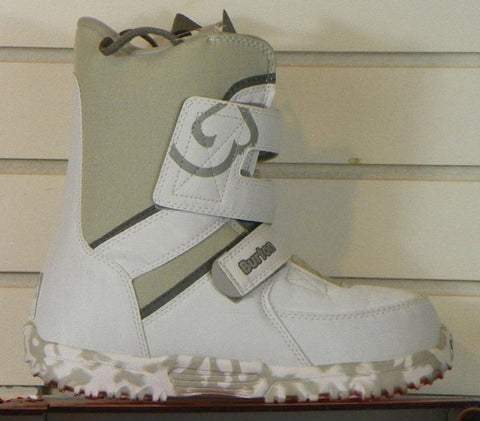 Burton Grom Kids USED Snowboard Boots Size 1 White/Beige