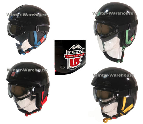 Burton Used Helmet and New Recon White Goggle Combo Package Progression by Red Snowboard Ski