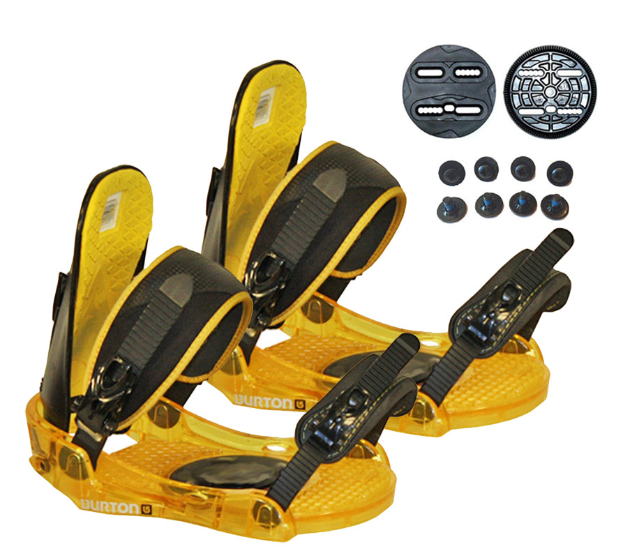 Burton Progression Snowboard Bindings Used M/L Medium Large 9-14 , Black-Yellow