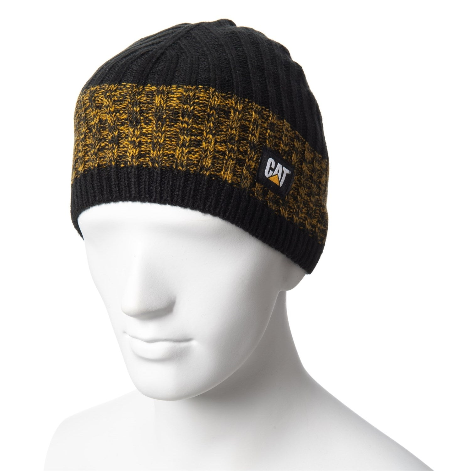 Caterpillar CAT Squall Logo Warm Snowboard Ski Beanie Black - Yellow