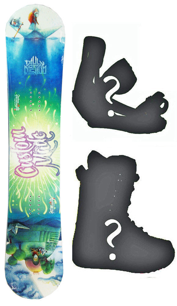 149cm Custom Made Story Book W-Rocker Snowboard, Build a Package with Boots and Bindings