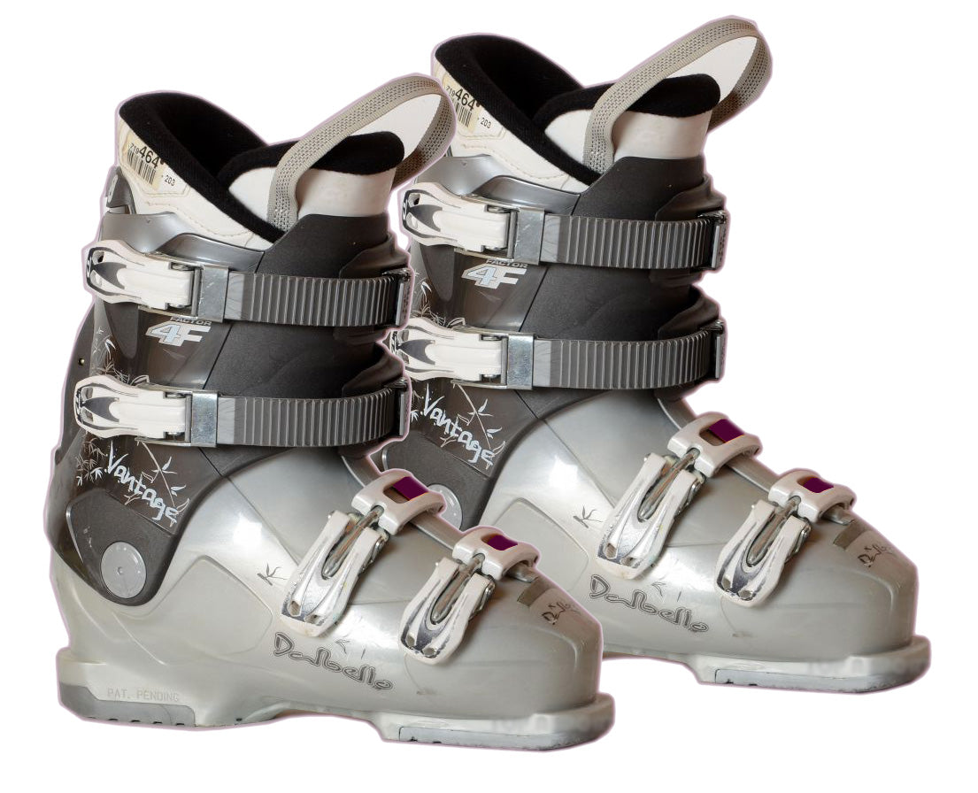 Dalbello Womens 4F Factor Ski Skiing Boots White Grey Maroon Used Mondo 27.5 = Women 10.5.