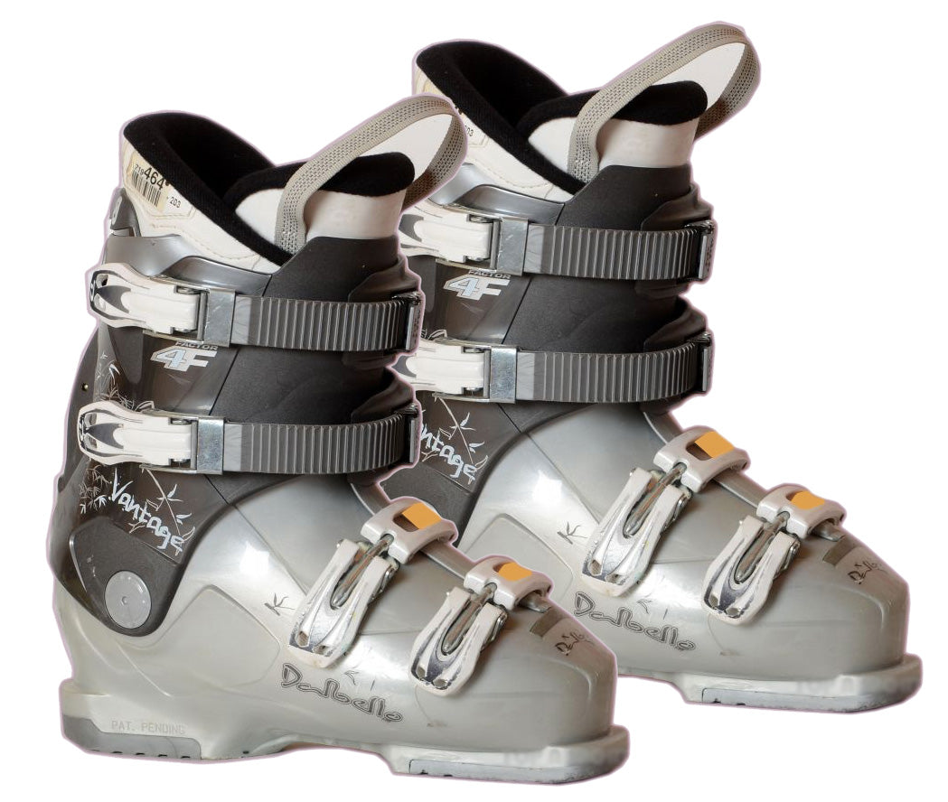 Dalbello Womens 4F Factor Ski Boots White Grey Org Used Mondo 25.5 = Women 8.5