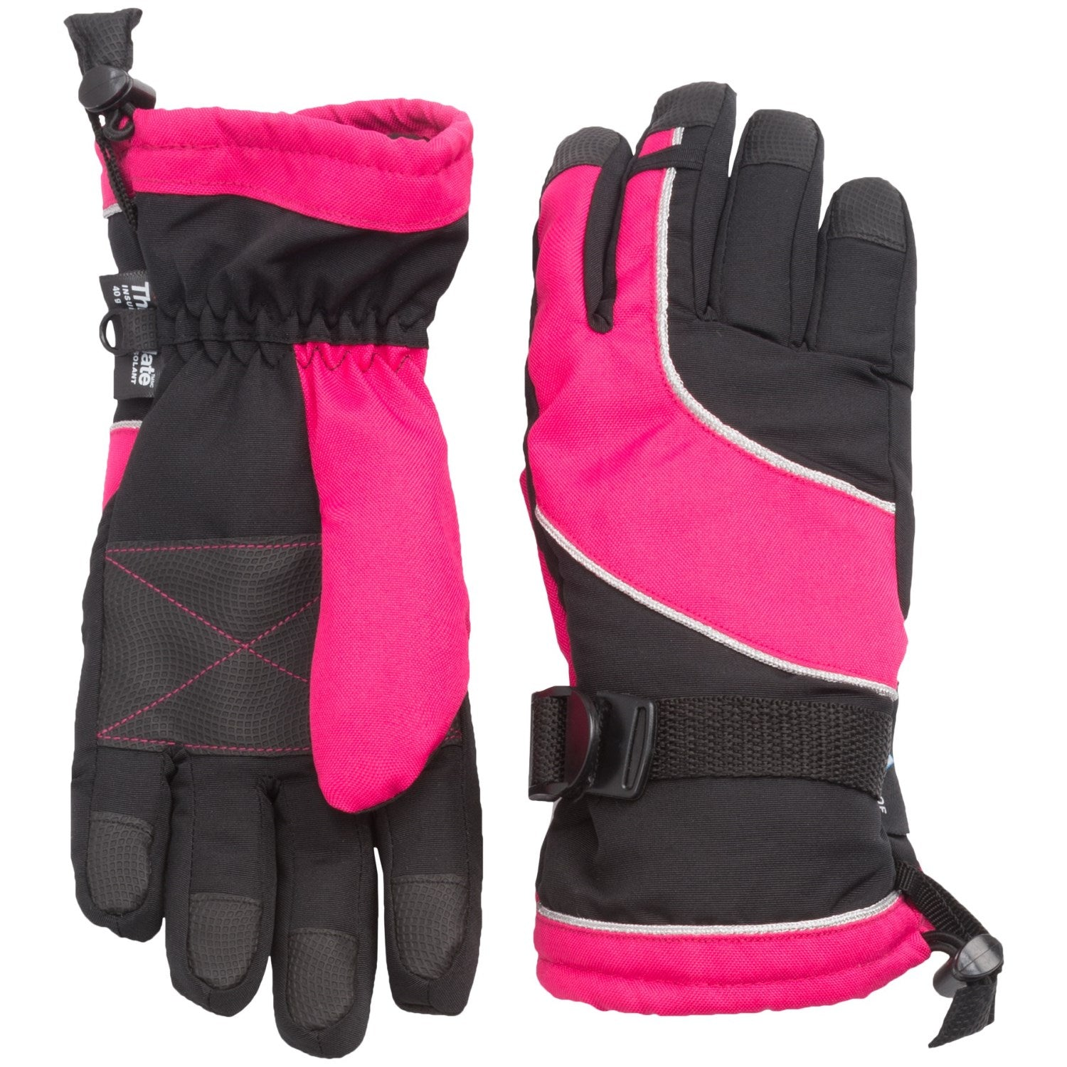 Grand Sierra Oxford Bec Tech Snowboard Gloves Waterproof, Insulated Black Pink Kid Youth O/S 7-16
