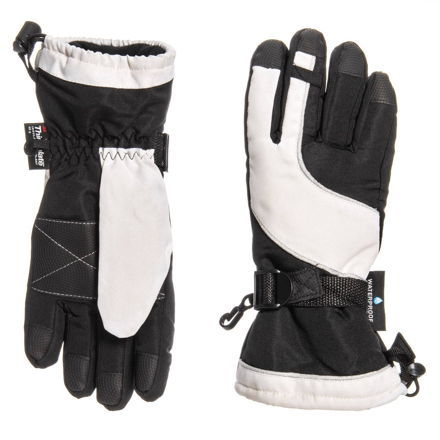 Grand Sierra Oxford Bec Tech Snowboard Gloves Waterproof, Insulated Black White Kid Youth O/S 7-16