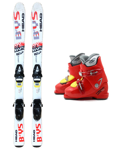 107cm Head Bys Skis & Tyrolia 4.5 Bindings & Head HT2 Boots 13-1 Used Kids Youth 3pc Package