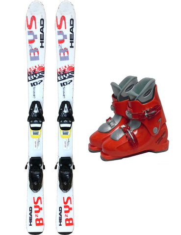 107cm Head Bys Skis & Tyrolia 4.5 Bindings & Head HT2 Boots 2-4.5 Used Kids Youth 3pc Package