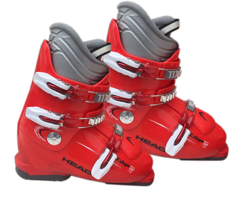 Head Edge J-3 Ski Skiing Red White Gray Boots Mondo 24.5 Youth 6.5 or Women 7.5 Used