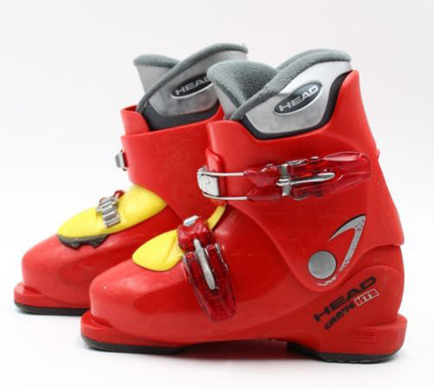 Head Carve HT2 Junior Ski Skiing Red Yellow Boots Mondo 19.5-20.5 Youth Kids 13-1 USED