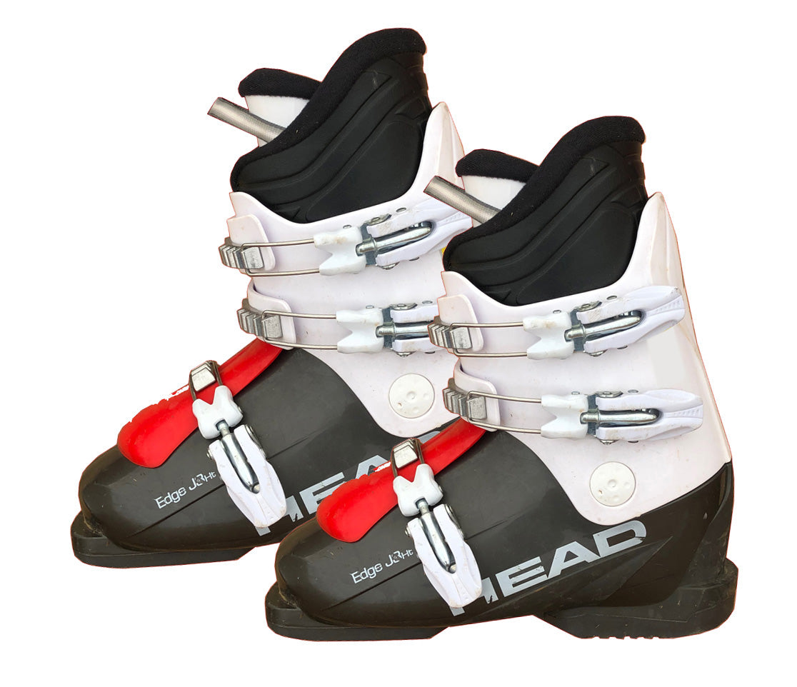 Head Edge J3-HT Ski Skiing White Gray red Boots Mondo 23.5 Youth 5.5 or Women 6.5 Used