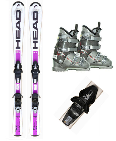 130cm Head Link Block Skis & Tyrolia BLK BYS 10 Bindings & Dalbello Boots 5-9 Used Package