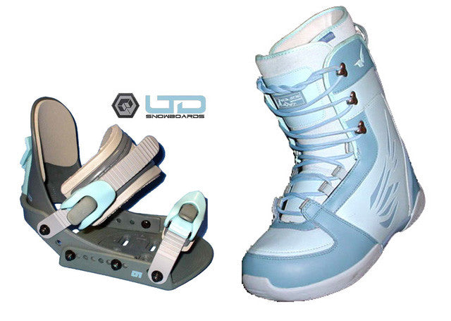 Heelside Finesse Womens   Snowboard Boots Size 5 Blue with LTD LT1 Chrome Bindings Combo Package Deal