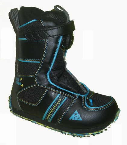 K2 Mini-Turbo Kids Boa  Snowboard Boots Size 11c Black