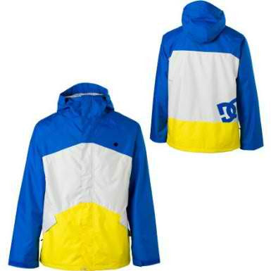 DC Showtime Mens Snowboard Ski 5k Waterproof Hood Jacket Blue yellow Large