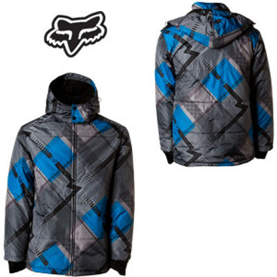 Fox Racing F Logo Ski Snowboard Winter Blue parka Jacket -Fleece Insulated Men's Large