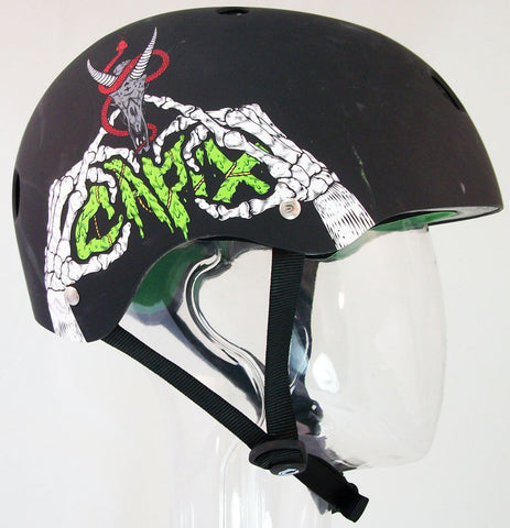 Capix Basher L/XL Mens Helmet Matte Black Skeleton Hands snow, skate, wake, bike