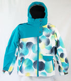 M3 Jenn Girls Snowboard Ski Jacket White Aqua Black Yellow Dots Medium