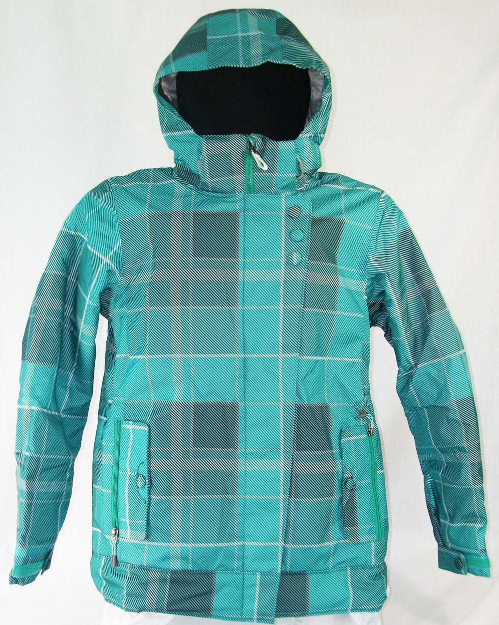 M3 Clare Womens Snowboard Ski Jacket Vivid Green Plaid Medium