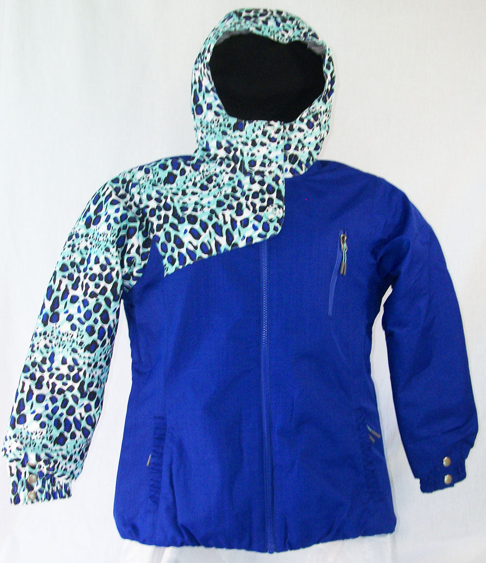 Firefly Star Girls Snowboard Ski Jacket Blue Jewel Cheeta Print Medium