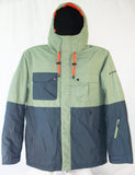 M3 Henry Mens Snowboard Ski Jacket Oil Green Ombre Blue Large