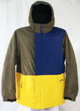 M3 Paragon Mens Snowboard Ski Jacket Gold Yellow Dark Blue Brown Large