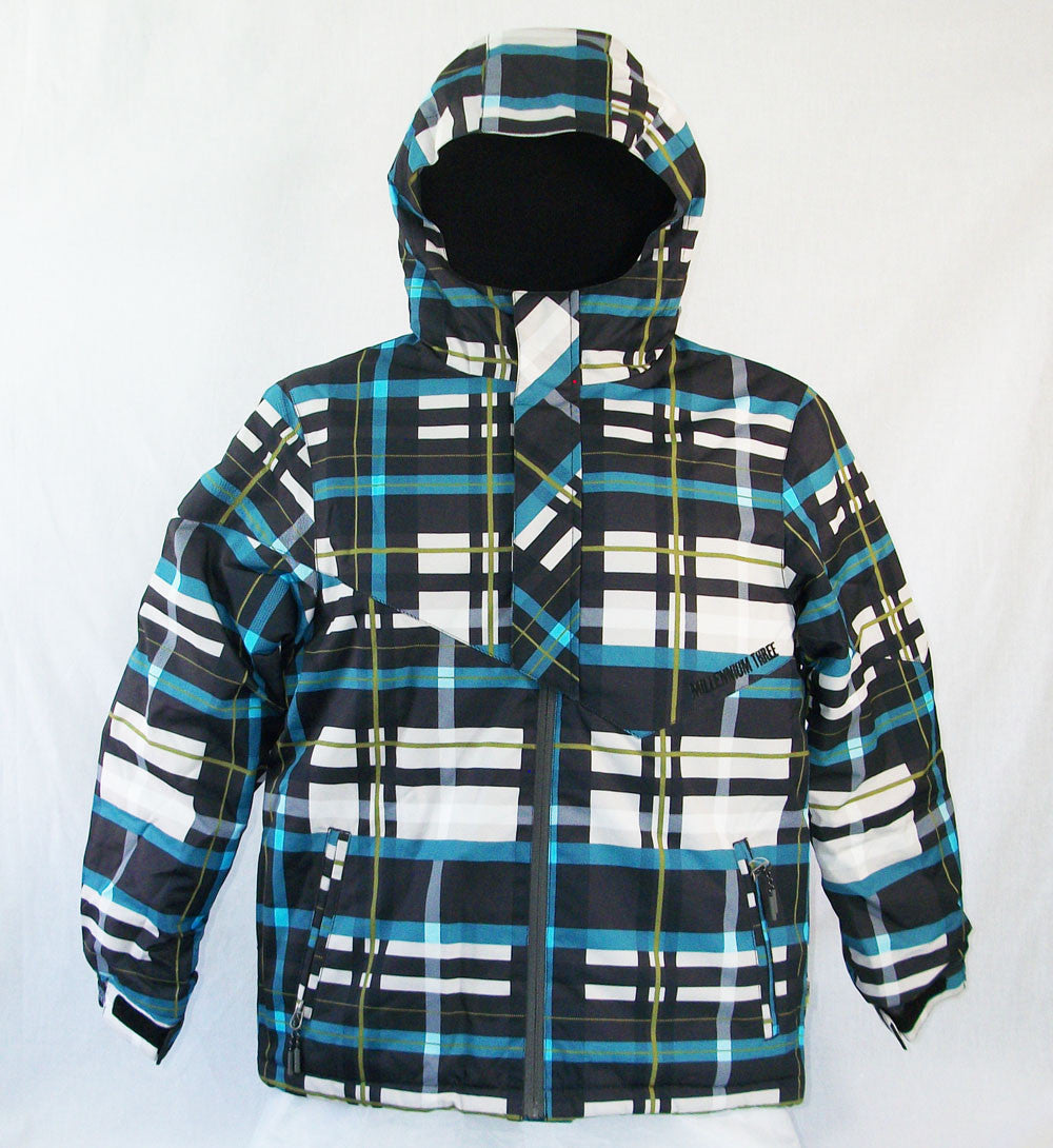 M3 Trip Boys Snowboard Ski Jacket Blue Plaid Medium