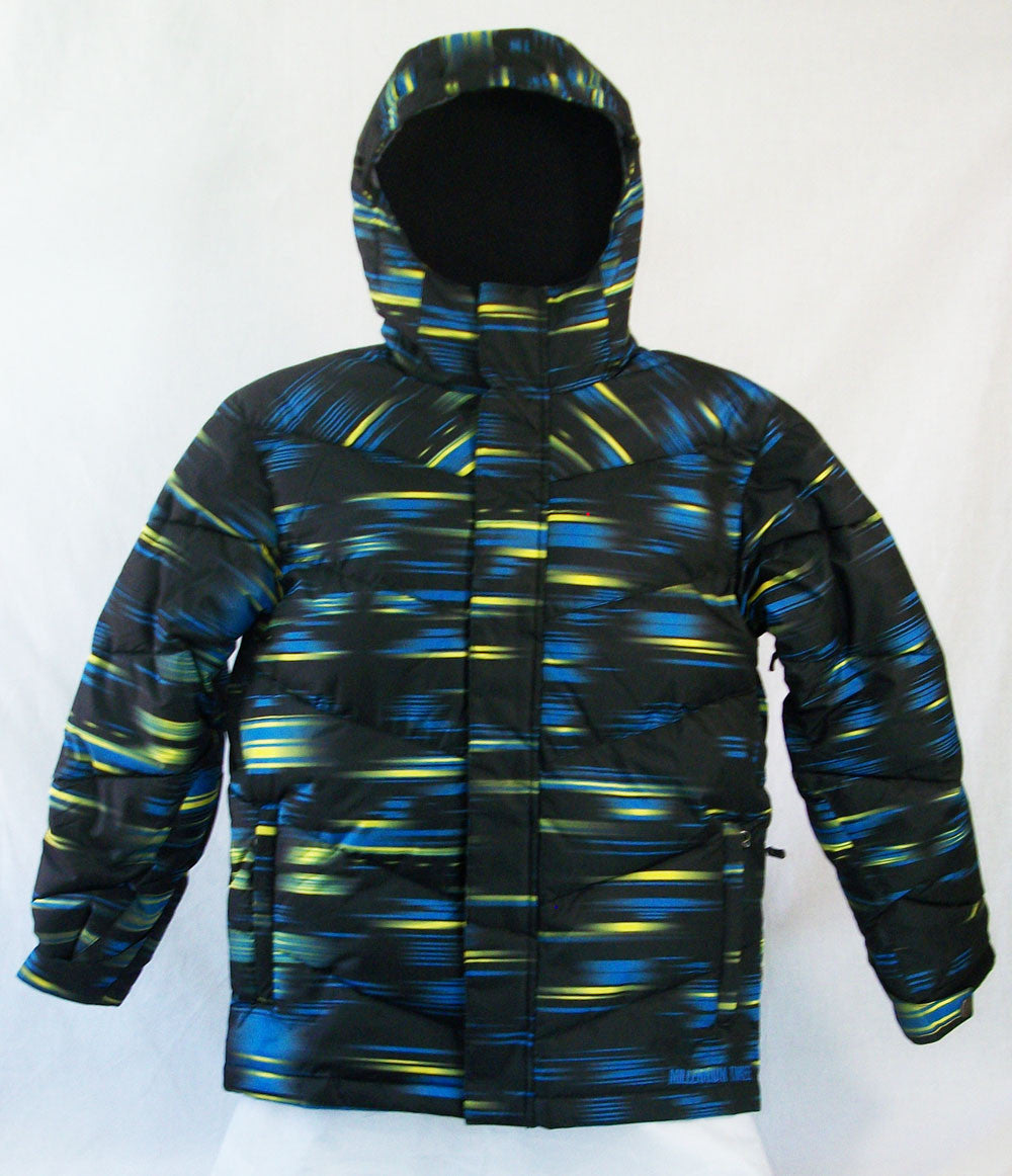 M3 Blizzard Boys Snowboard Ski Jacket Black Fern Green Honey Comb Medium