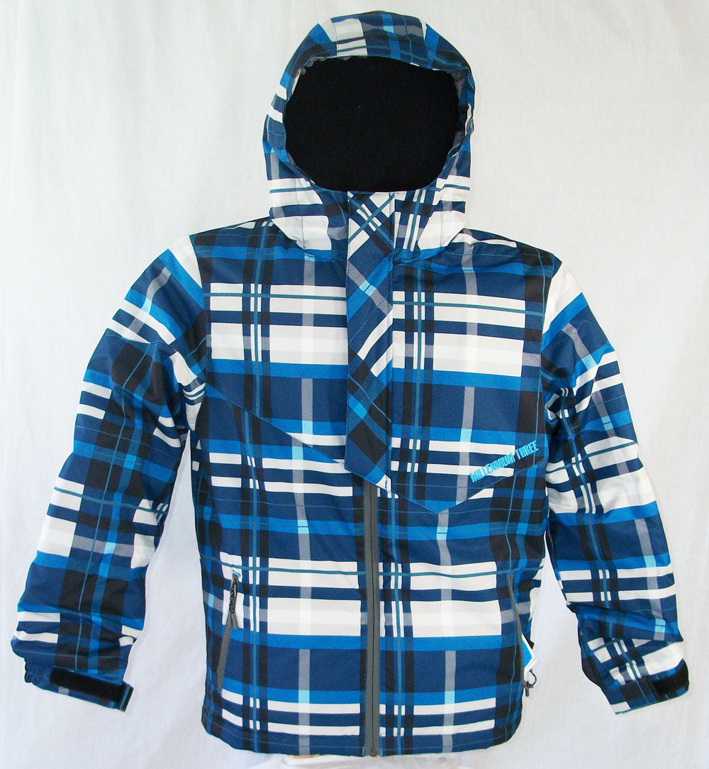 M3 Trip Boys Snowboard Ski Jackets Blue Plaid Medium
