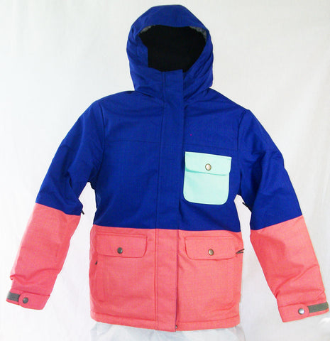 Firefly Allice Girls Snowboard Ski Jacket Clematis Blue Beach Glass Georgia Peach Medium