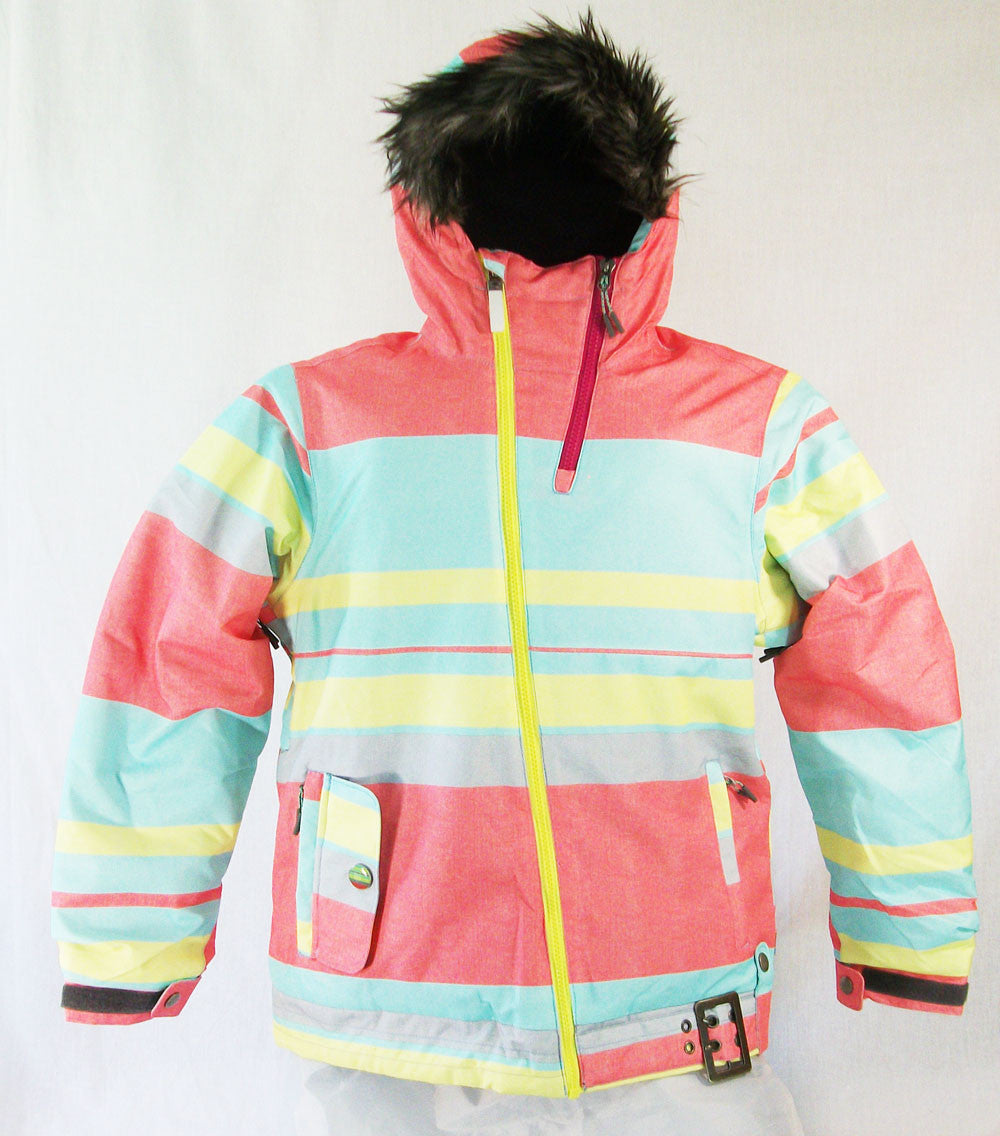 M3 Jan Girls Snowboard Ski Jacket Peach Stripe Print Medium