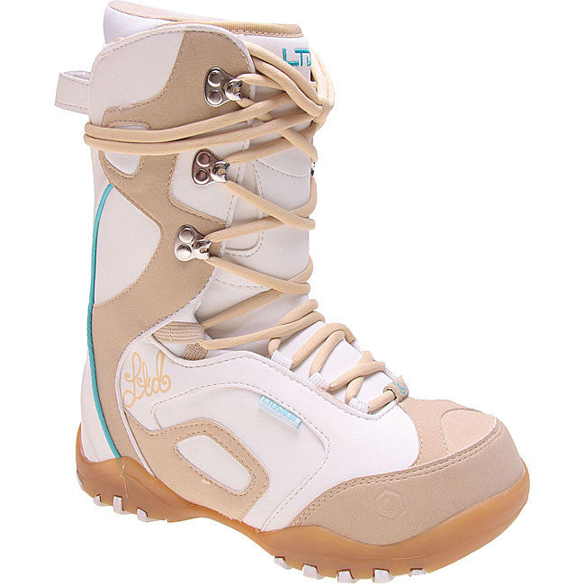 Ltd Stratus Kids Youth Snowboard Boots Size 5 White Mocha equals womens 6.5