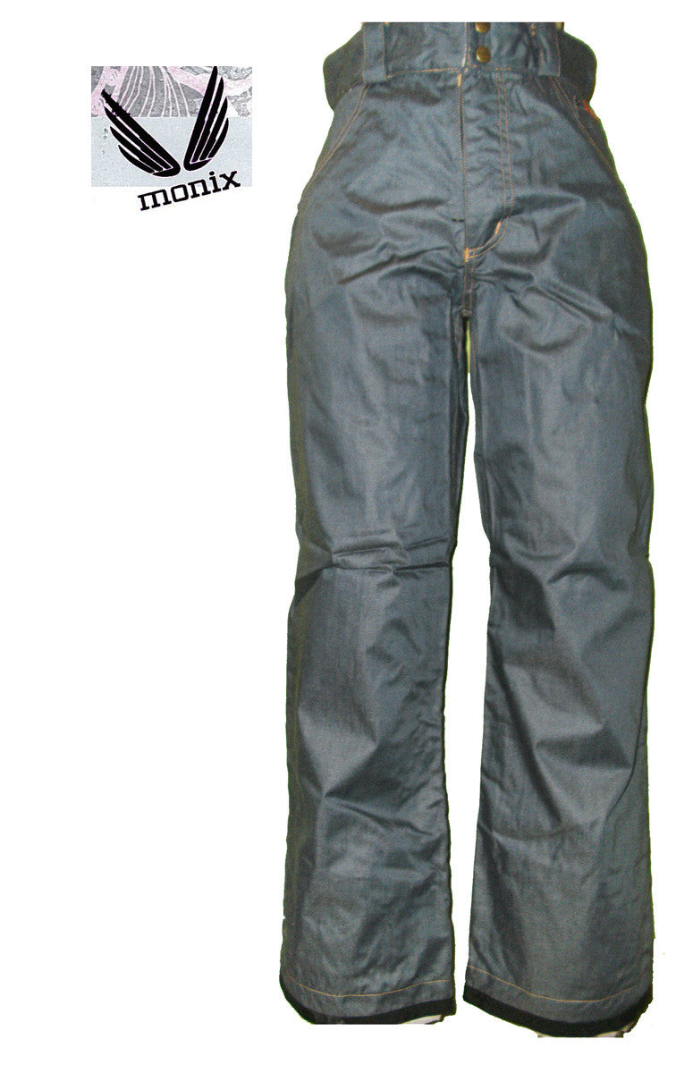 MONIX JOPLIN WOMENS SNOWBOARD PANTS DENIM X-SMALL 10k jk119