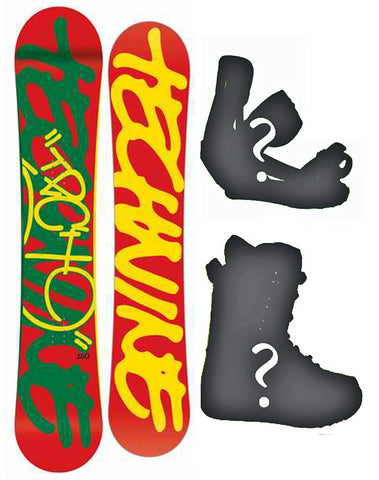 145cm, 153cm Technine Camrock Rasta-red Hybrid Cam Rock Rocker Board or Build a Snowboard Package With Boots And Bindings
