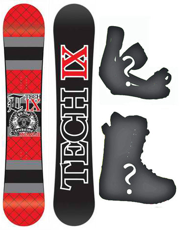 147cm, 150cm, 156cm Technine IX-Flat  Red Rocker Board or Build a Snowboard Package With Boots And Bindings