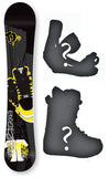 148cm, 154cm, 160cm Technine Mass Appeal Jacks  Black Yellow Hybrid Cam Rock Rocker Snowboard Package With Boots And Bindings