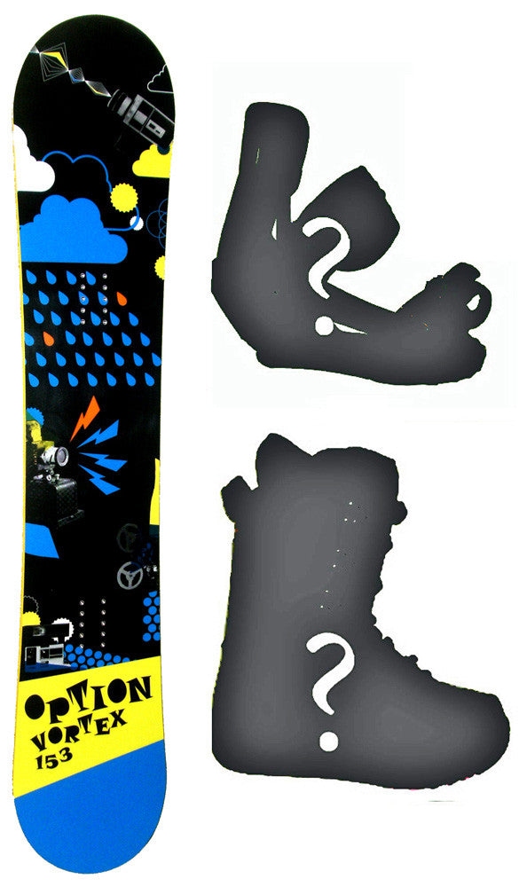157cm Option Vortex W-Rocker Snowboard Package With Boots And Bindings