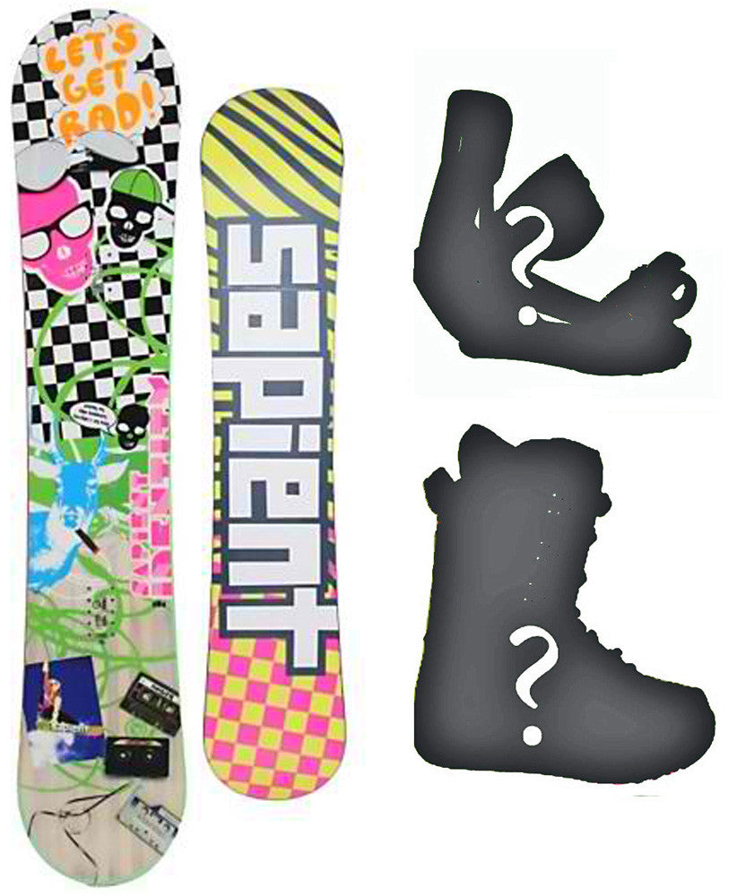 157cm Sapient Vortex-Rad W-Rocker Snowboard Package With Boots And Bindings