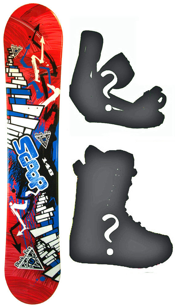 160cm Wide Black Fire Scoop Red Rocker Snowboard, Build a Package with Boots and Bindings