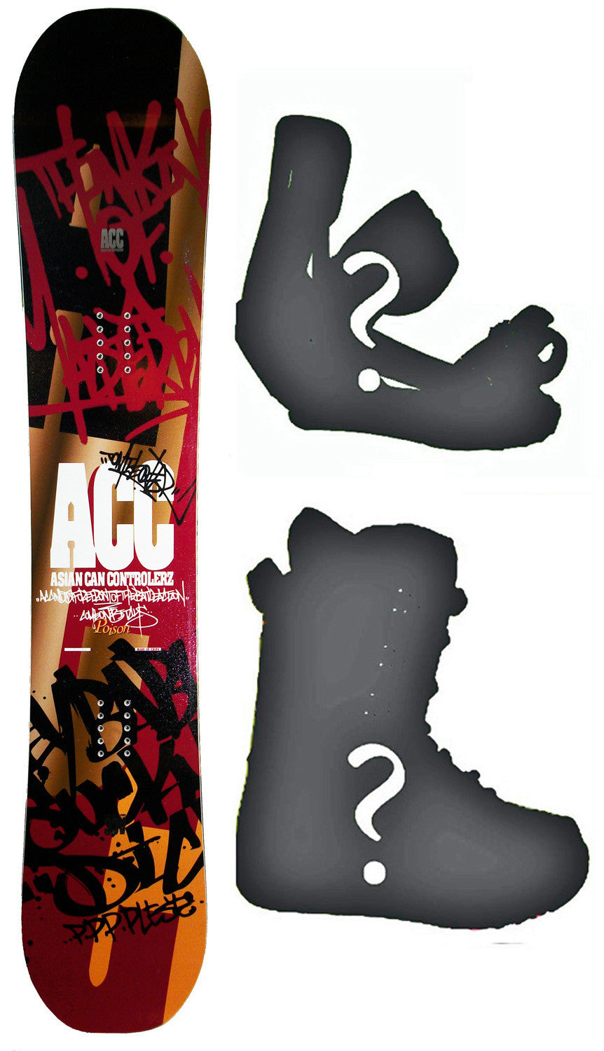 152cm Asian Can Controlerz Poison W-Rocker Snowboard, Build a Package with Boots and Bindings