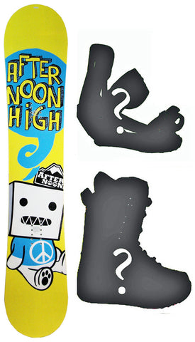 145cm Afternoon Yellow Peace Rocker Snowboard, Build a Package with Boots and Bindings