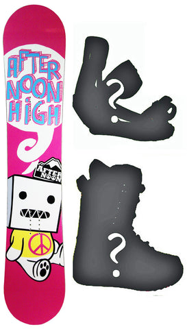 142cm Afternoon High Pink Peace Rocker Snowboard, Build a Package with Boots and Bindings