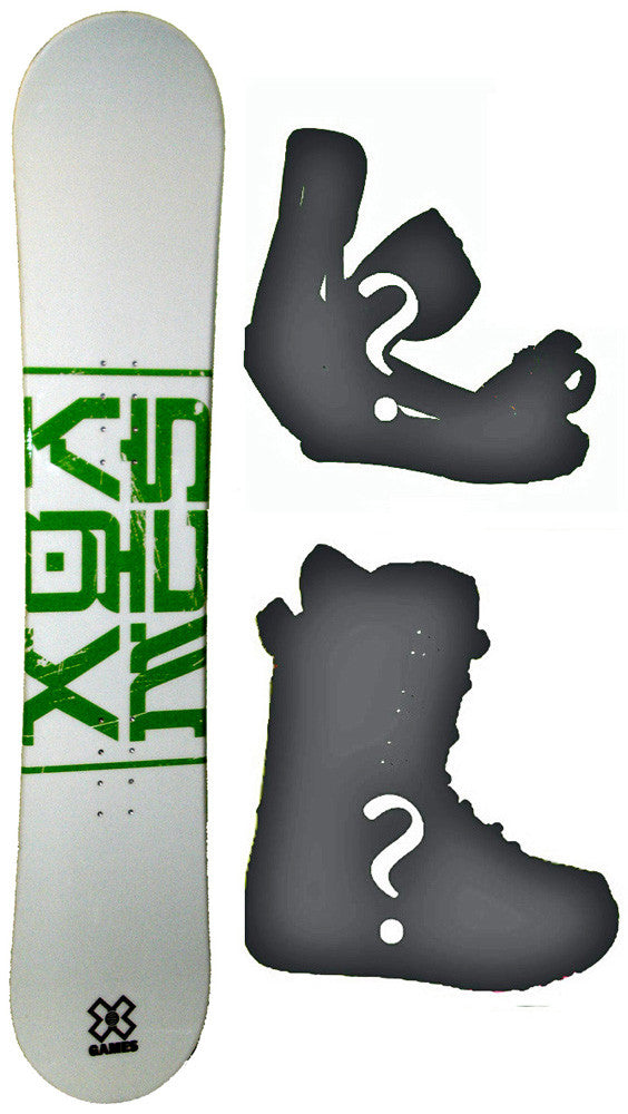 135cm X-Games Green Dragon Snowboard Package with Boots and Bindings