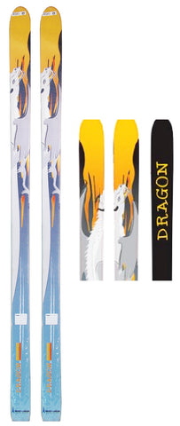 158cm Anes Dragon Rocker Cross Country No Metal Blem Skis 8.5x7x7.8cm
